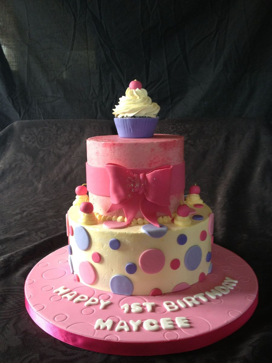 Pretty In Pink 1st Birthday Cake Cakecentral
