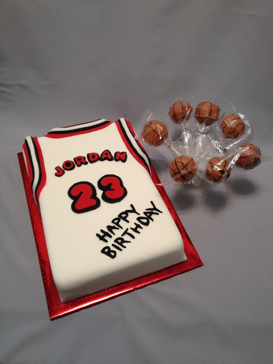 Basketball Jersey With Basketball Cake Pops Cakecentral Com
