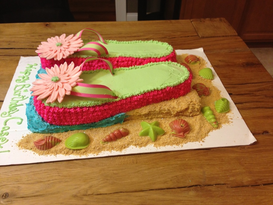 Flip Flop Cake Frosted With Buttercream Flowers Sculpted In Modeling Chocolate Sea Shells Made With Candy Melts Sand Graham Cracker Crumb on Cake Central