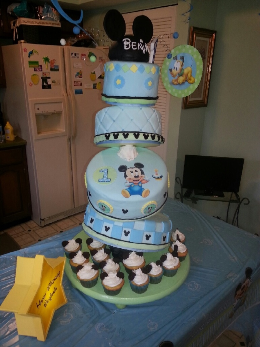 Baby Mickey Cake For Boy First Birthday - CakeCentral.com