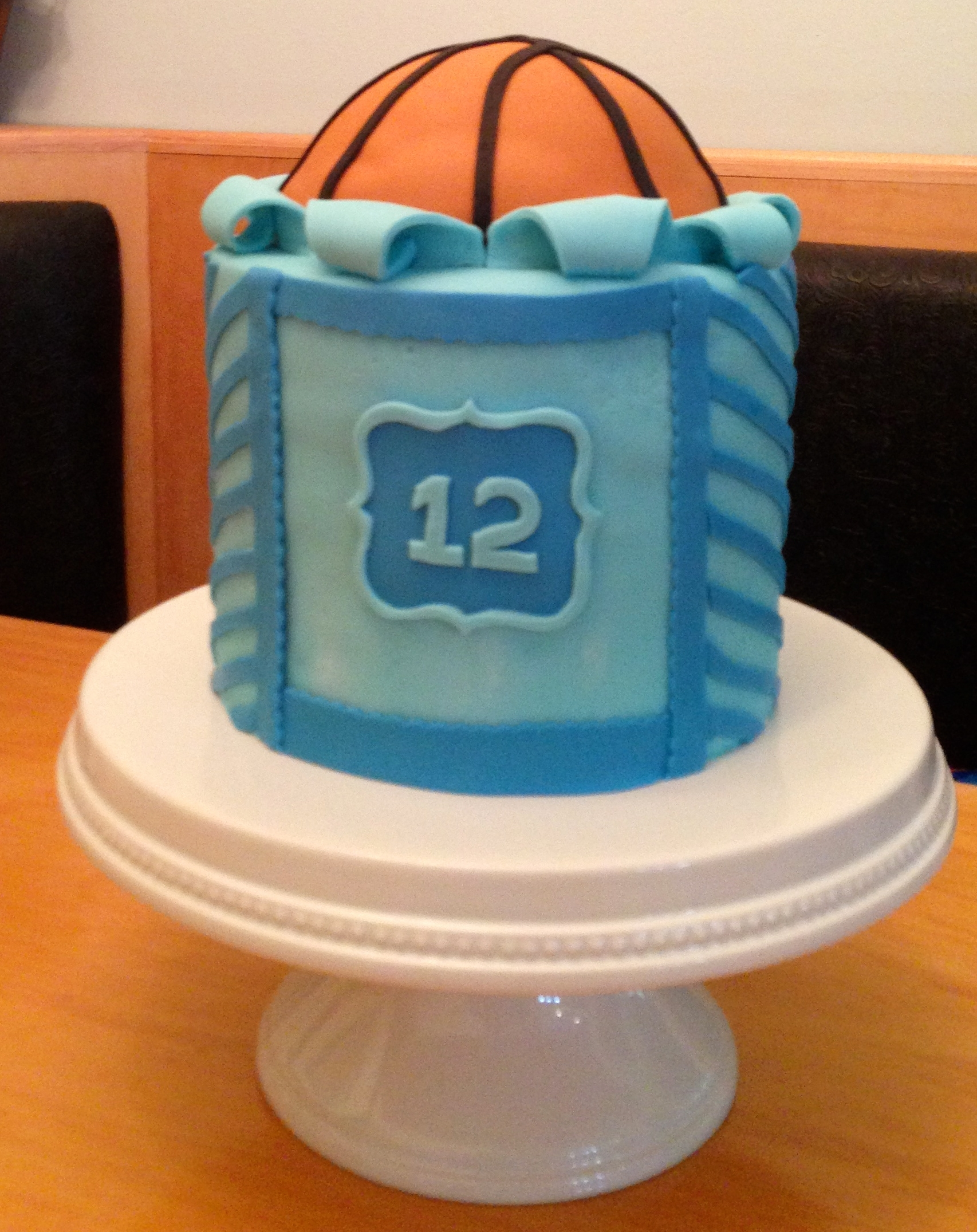 Blue Chevron And Basketball Cake CakeCentralcom