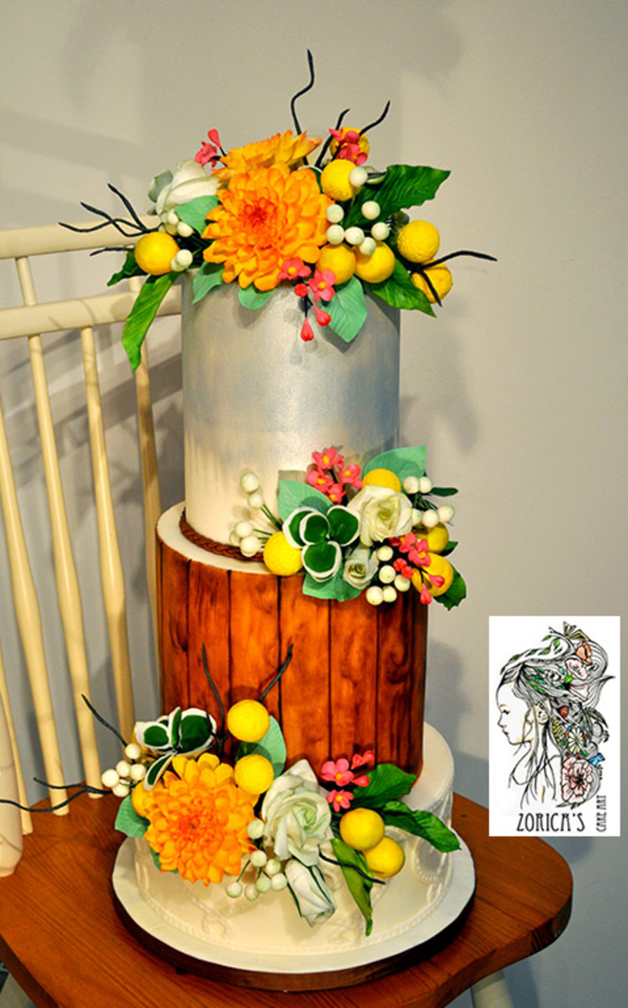 Country Style Wedding Cake Hand Painted Middle Tier And