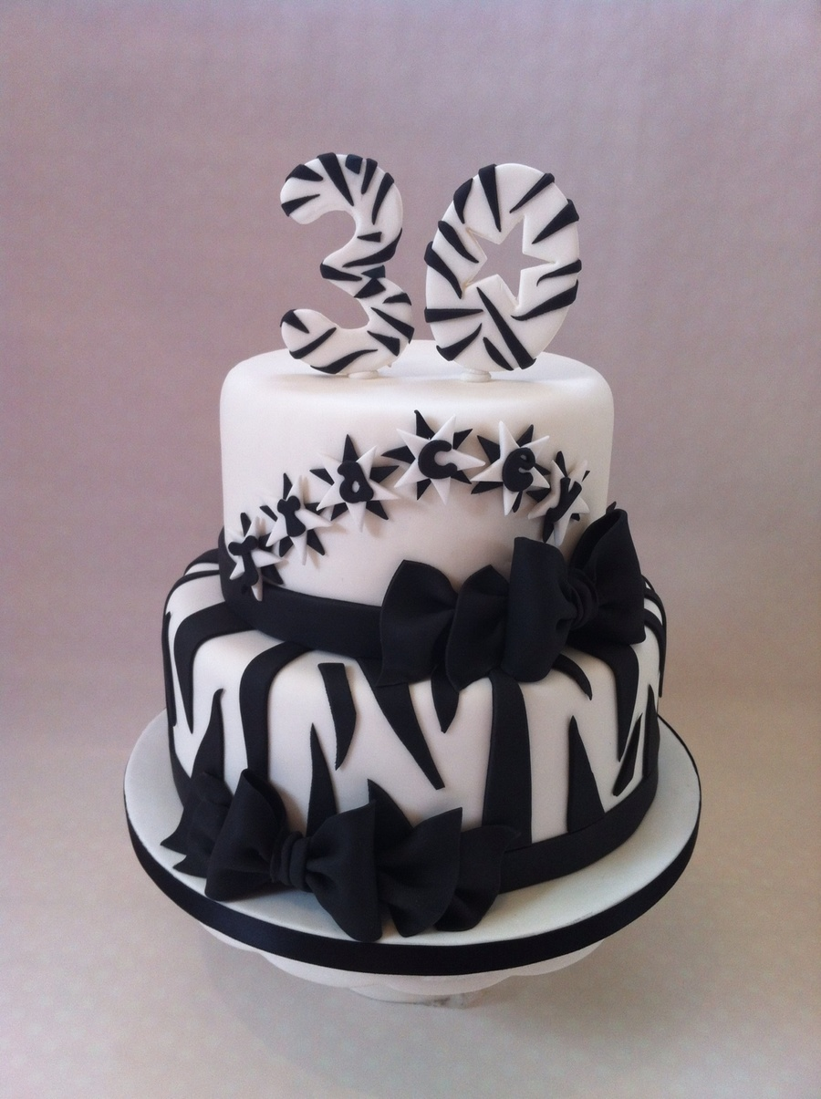 A Surprise Black And White 30th Birthday Cake