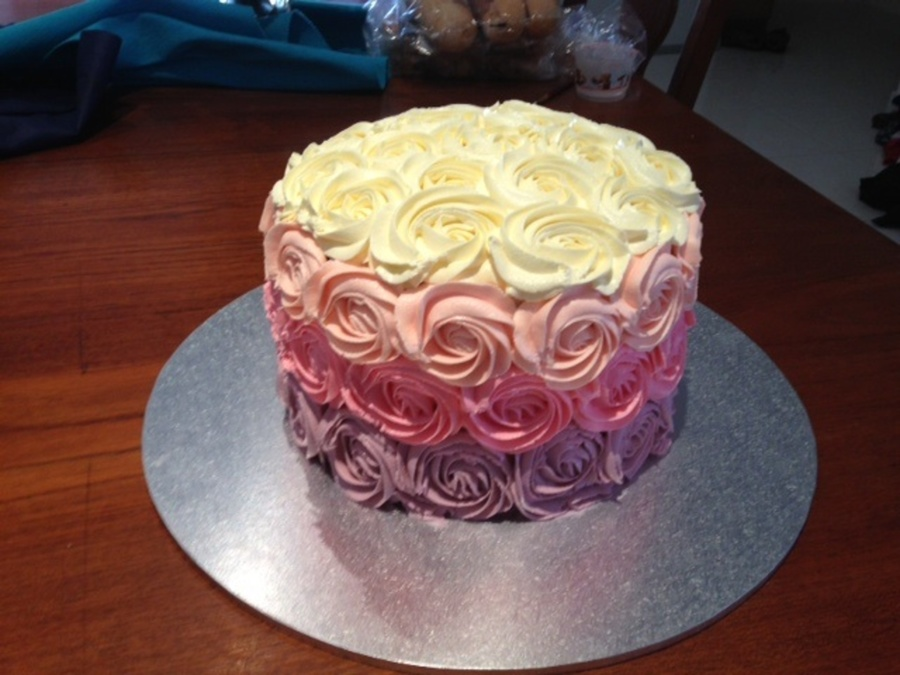 An Ombre Rose Swirl Cake I Made For A Friends Birthday Its Vanilla With