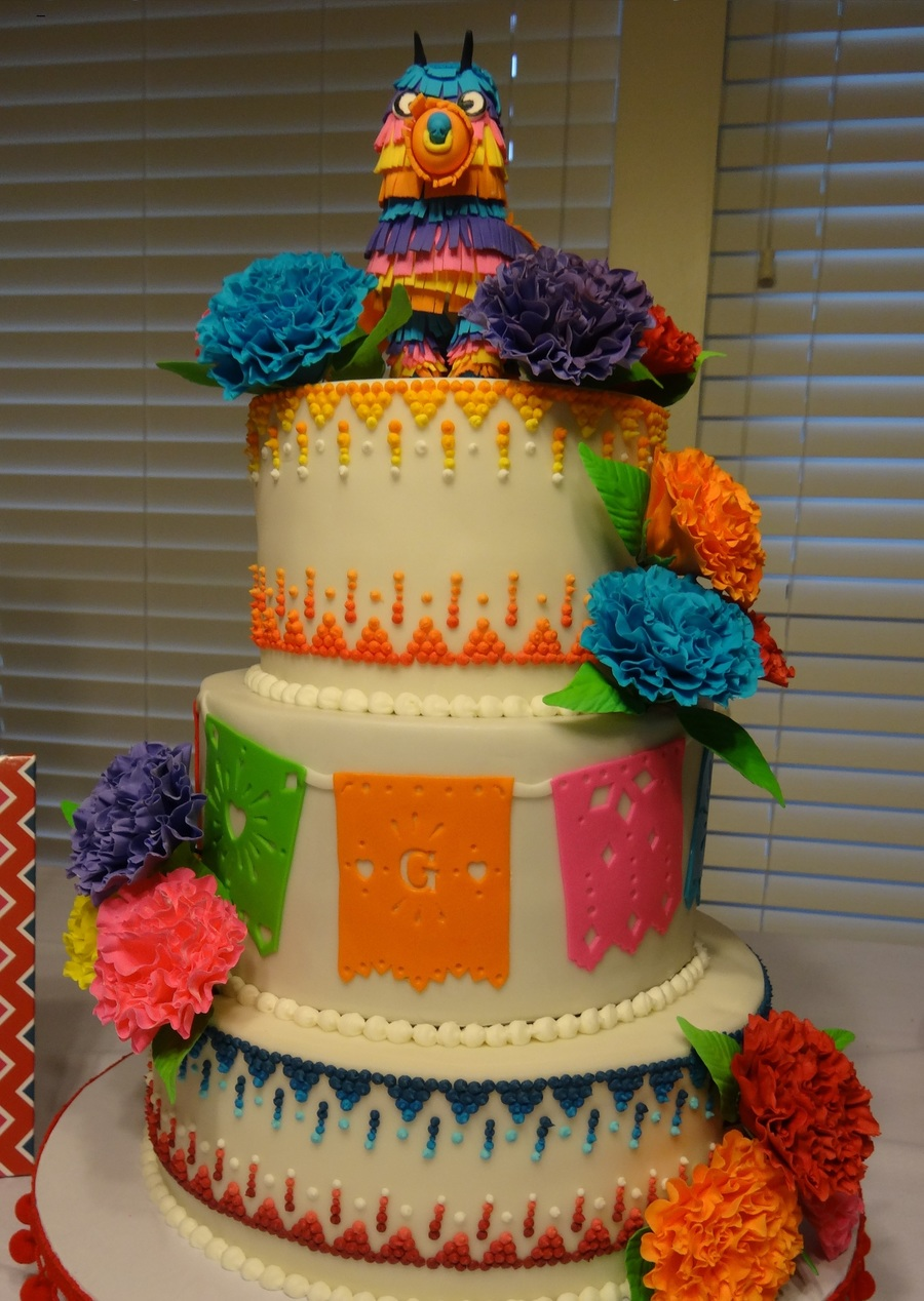 Cake For A Friends Fiesta Theme Couples Shower Inspired By The Wicked Goos Gumpaste Carnations And Fondant Pinata Topper Cakecentral Com