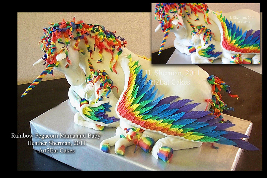 Rainbow Unicorn-Pegasus Mama And Baby Cake By H. Sherman, Art2Eat Cakes on Cake Central