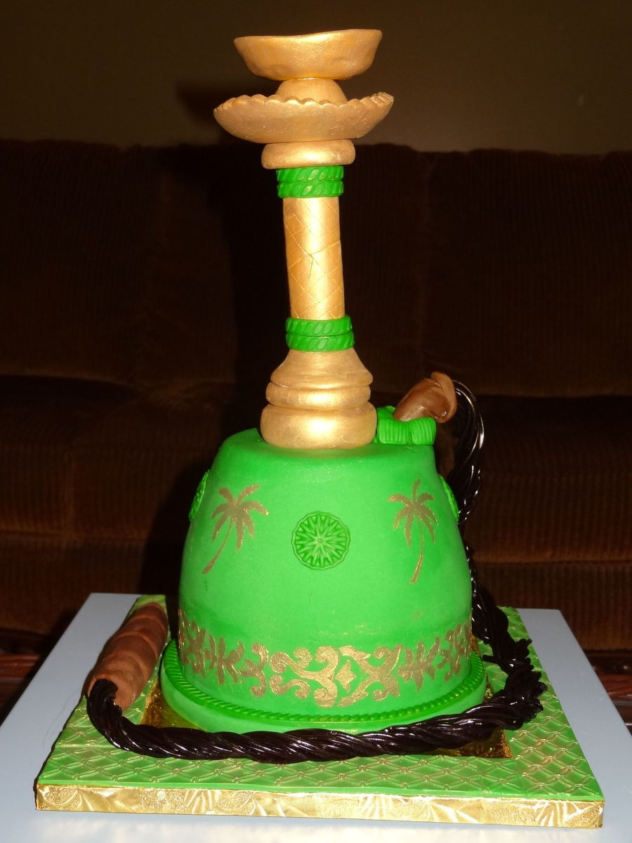 Hookahshisha Cake All Edible Hand Painted With Gold Dust on Cake Central