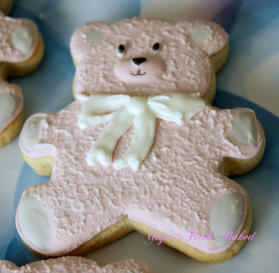 Pink Teddy Bear Gluten Free Sugar Cookies Decorated With ...