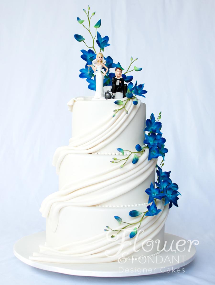 Blue Orchids Wedding Cake Design
