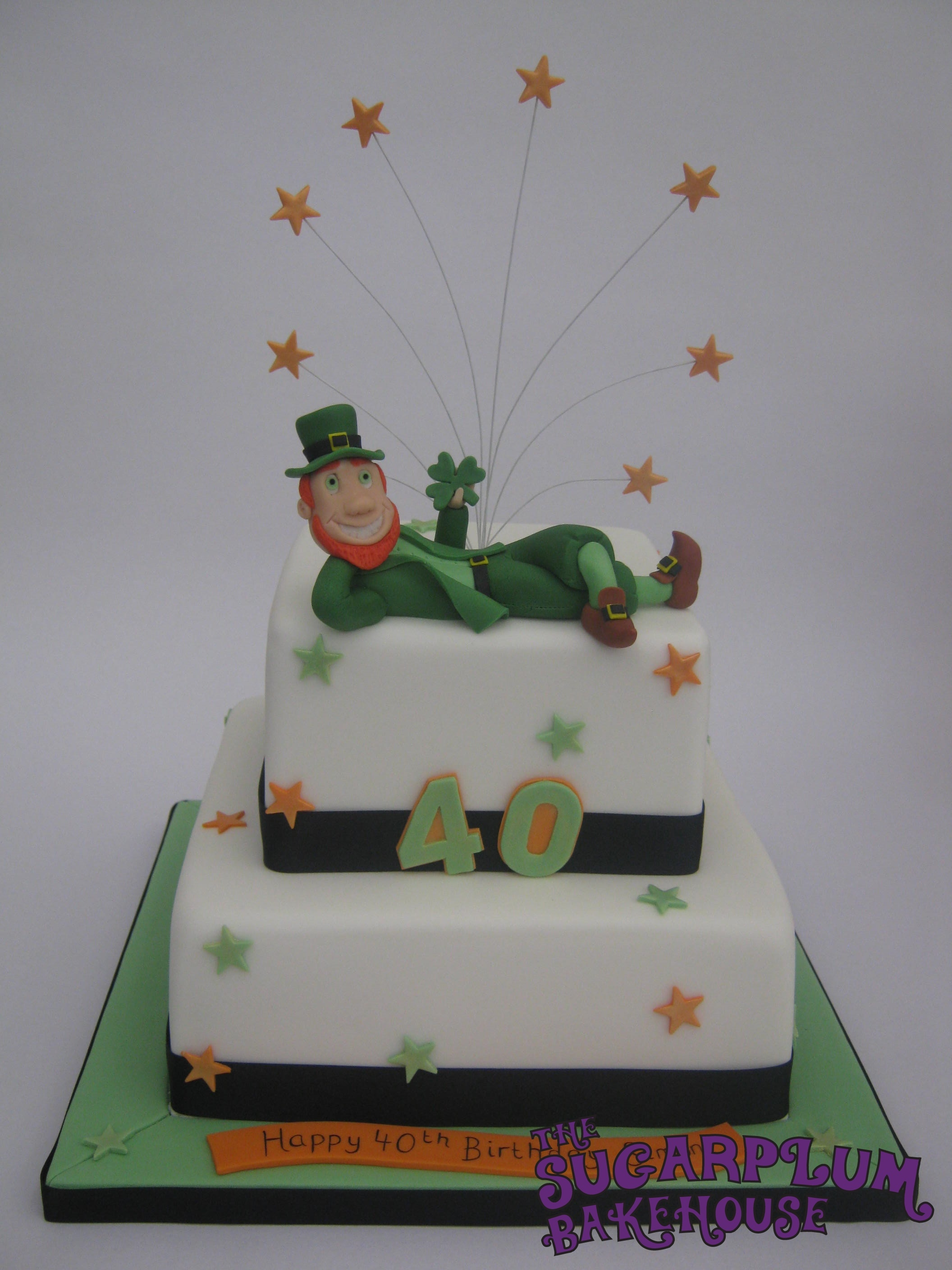 2 Tier Square Irish Themed 40th Birthday Cake
