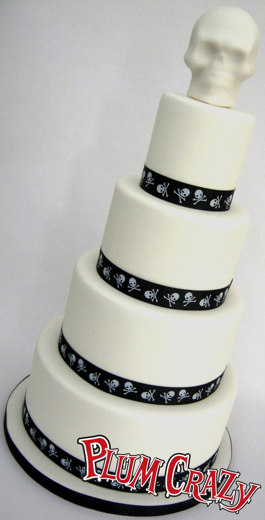 4 Tier Black & White Alternative Wedding Cake - Skulls - CakeCentral.com