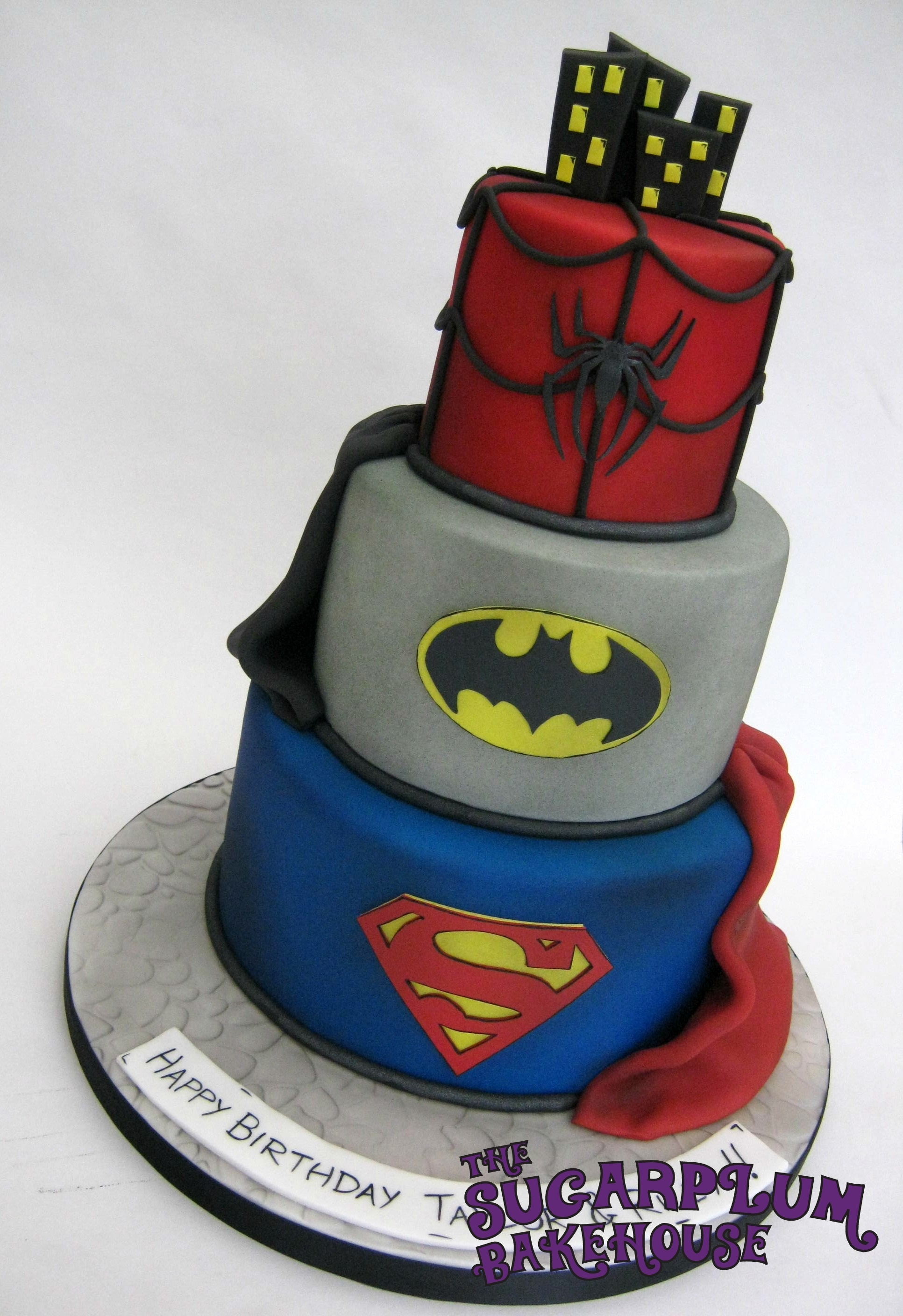 Spiderman Batman And Superman Birthday Cake 4 6 8 Inch Cakes Covered With Fondant Airbrushed All Decoration Is Handmade Cut From Or