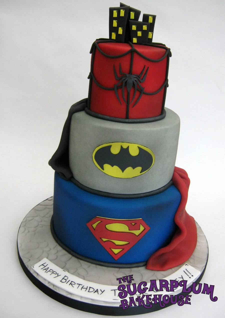 3 Tier Mini 3 Tier Marvel Dc Superhero Birthday Cake