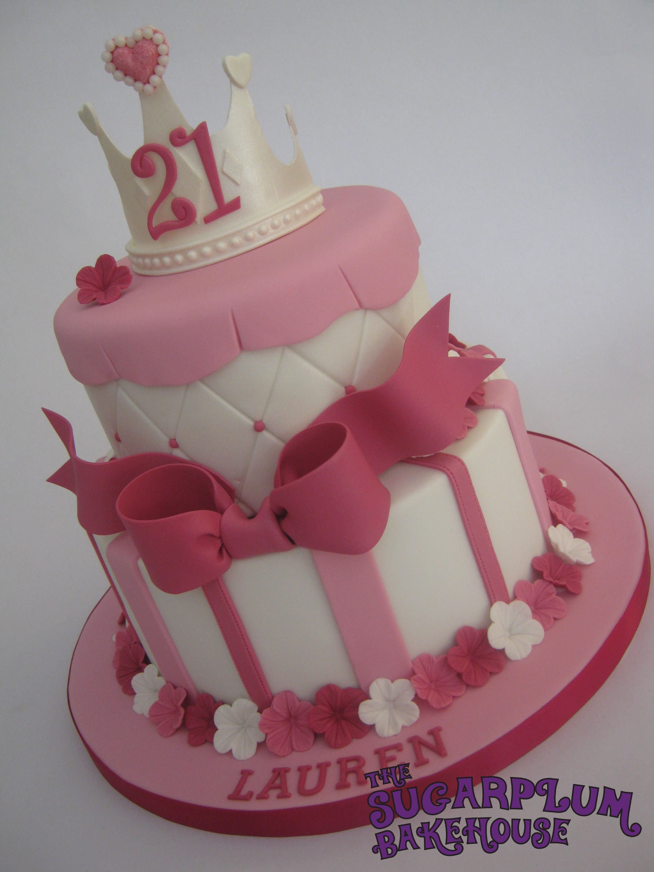 Girly Birthday Cake Images : 2 Tier Girly Princess 21St Birthday Cake - CakeCentral.com