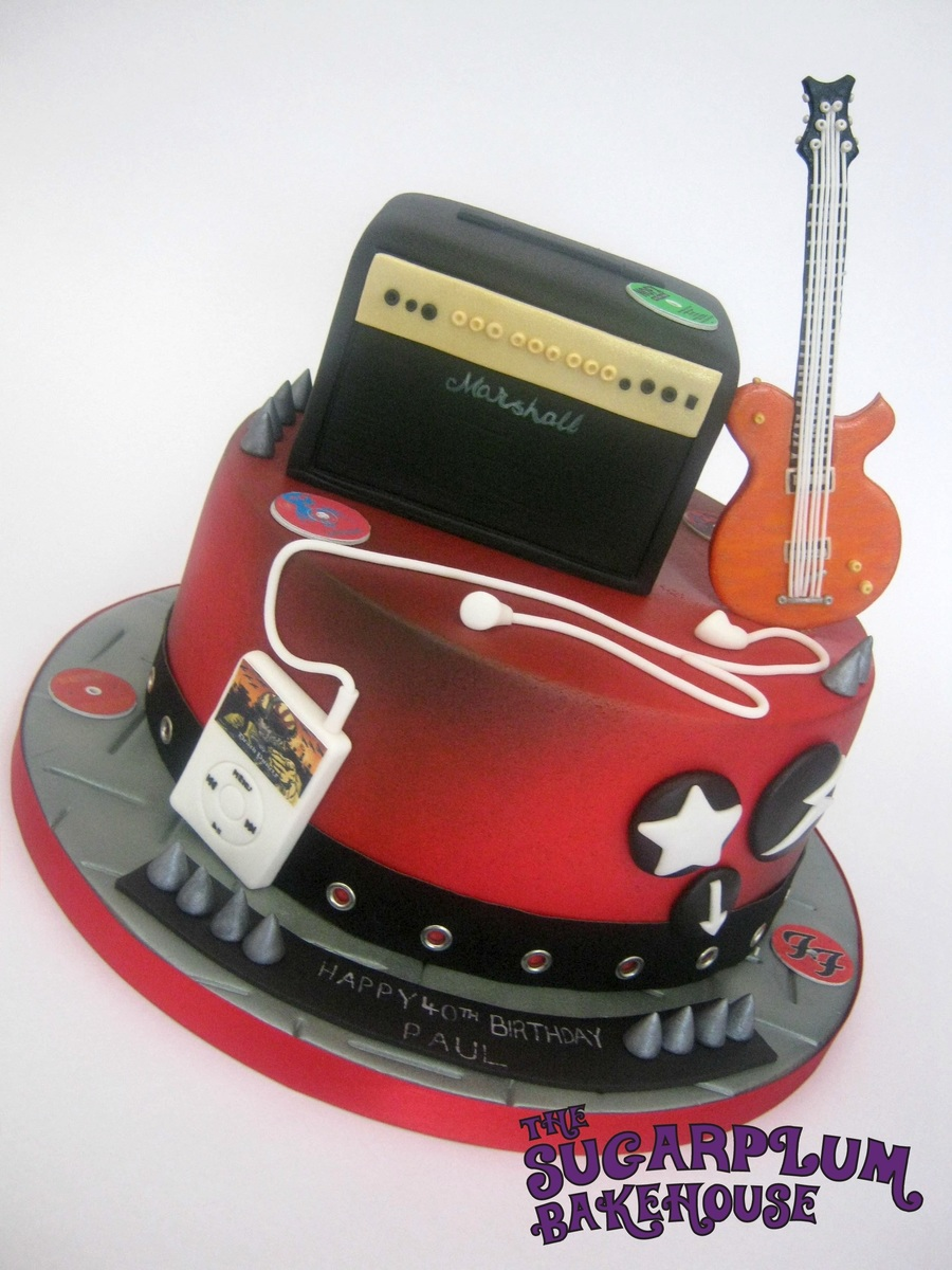 40th Birthday Music Rock Metal Themed Cake Cakecentral Com