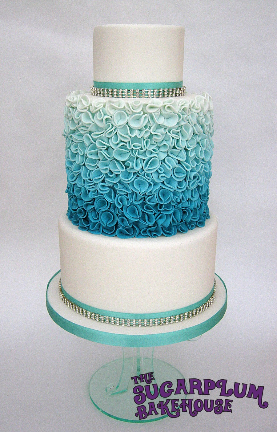 Turquoise Ombre Ruffle Wedding Style Cake Cakecentral Com