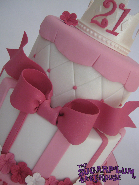 2 Tier Girly Princess 21St Birthday Cake CakeCentralcom