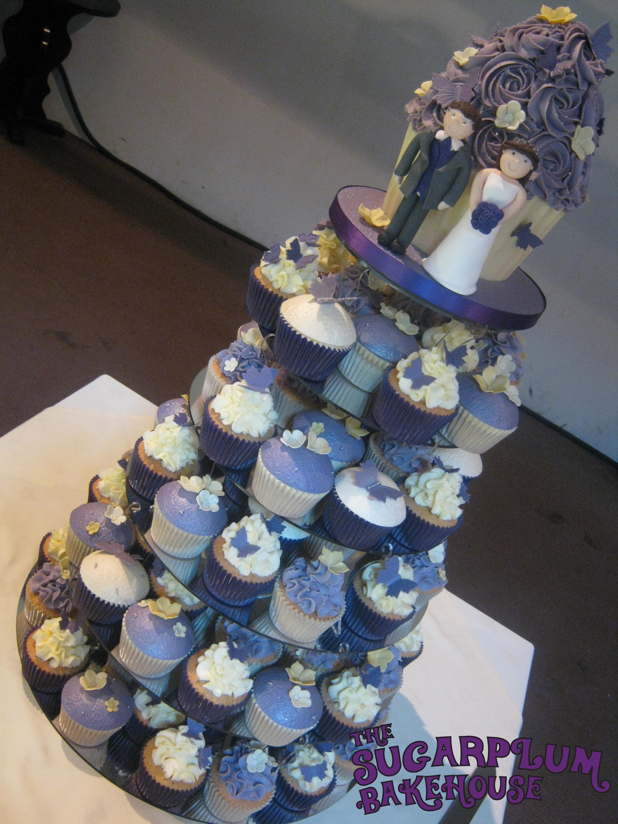 Purple Amp Cream Wedding Cupcake Tower Cakecentral Com