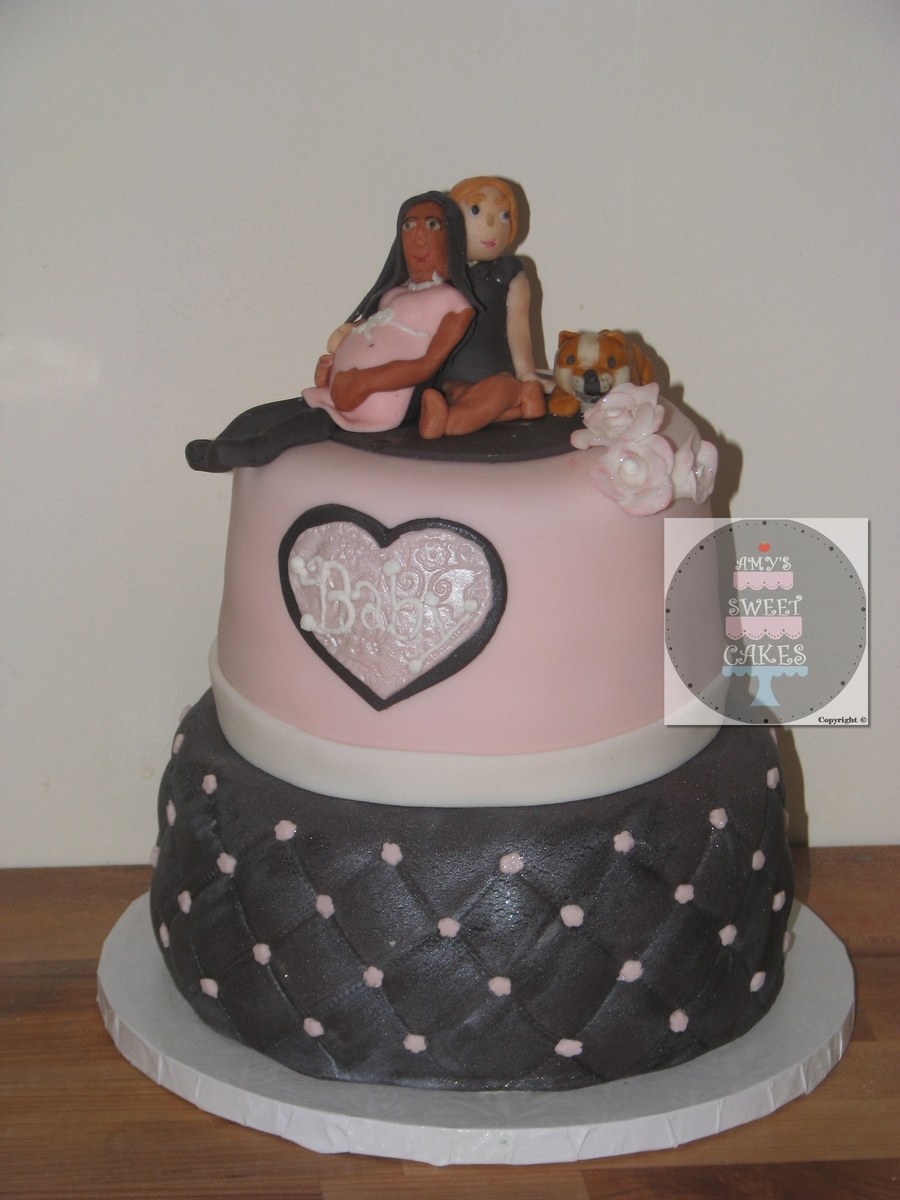 Pink And Grey Cake2Jpg on Cake Central