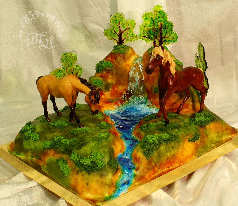 Cake Spring Mood Horses Sculpted From Sugar Paste on Cake Central