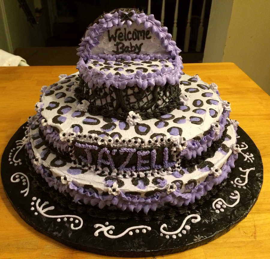 Purple Leopard Print Baby Shower Cake With Bassinet Cakecentralcom