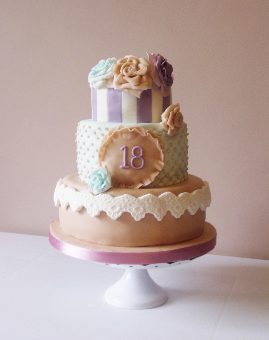 This Vintage Pastel Themed 18th Birthday Cake Was Made For My