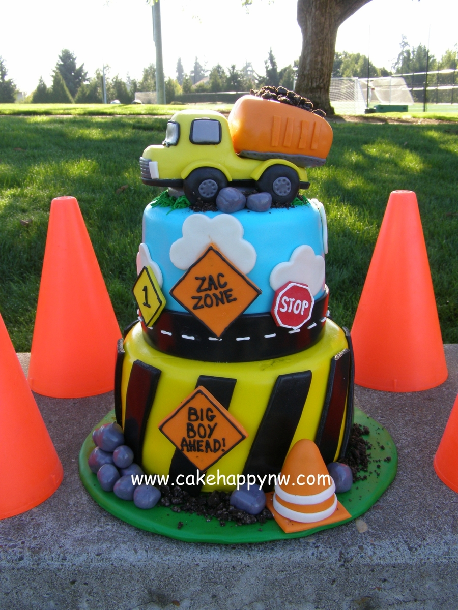 Two Tiered Construction Themed Cake Made For A Little Boys