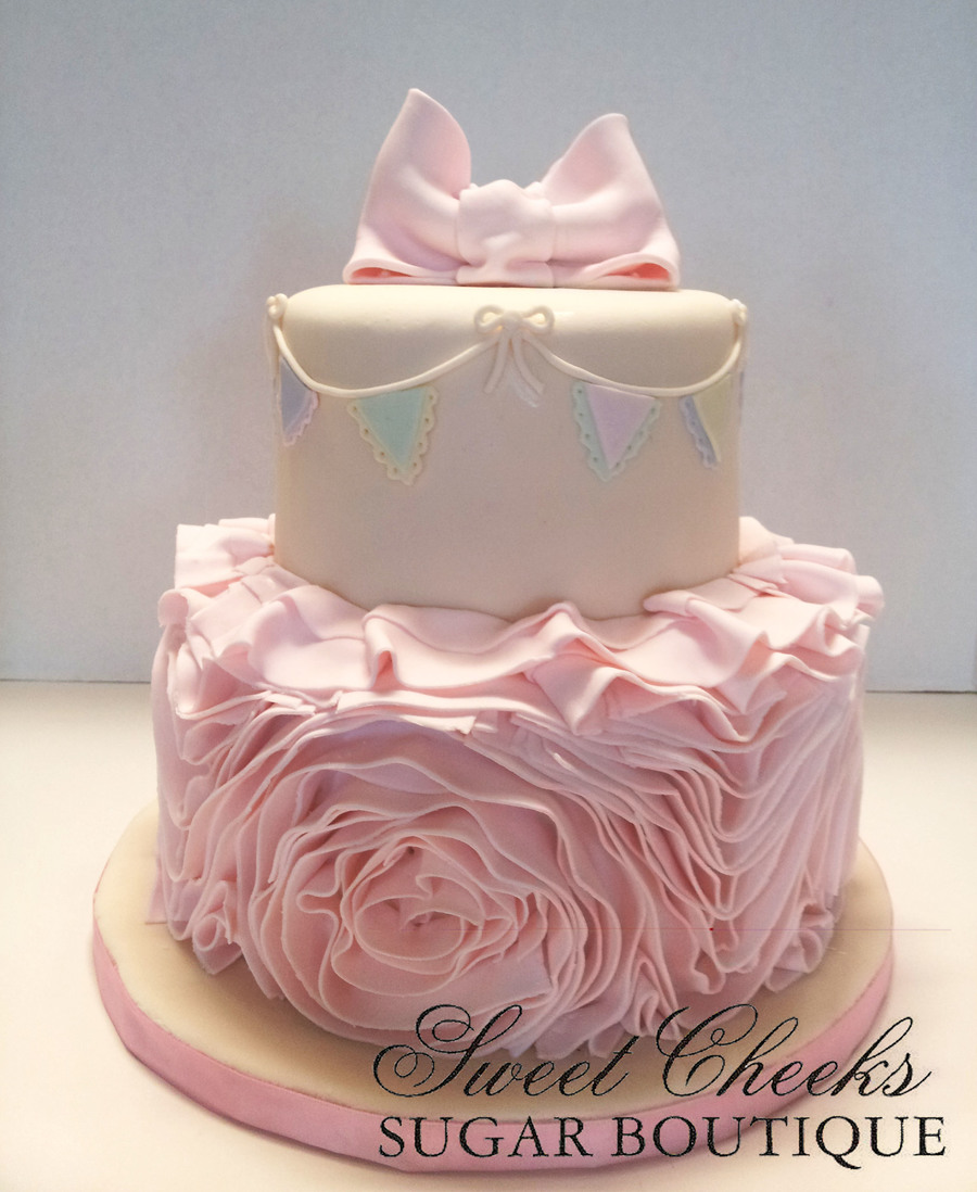 A Beautiful Fondant Ruffle Rose Cake For A Baby Shower