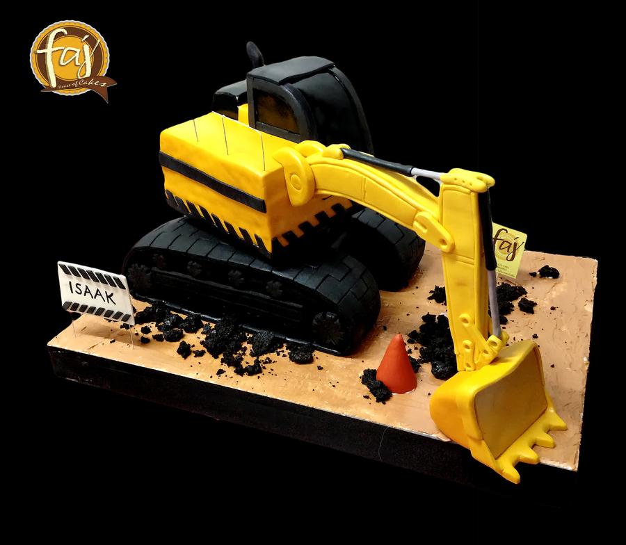 digger cake template - 3d backhoe cake