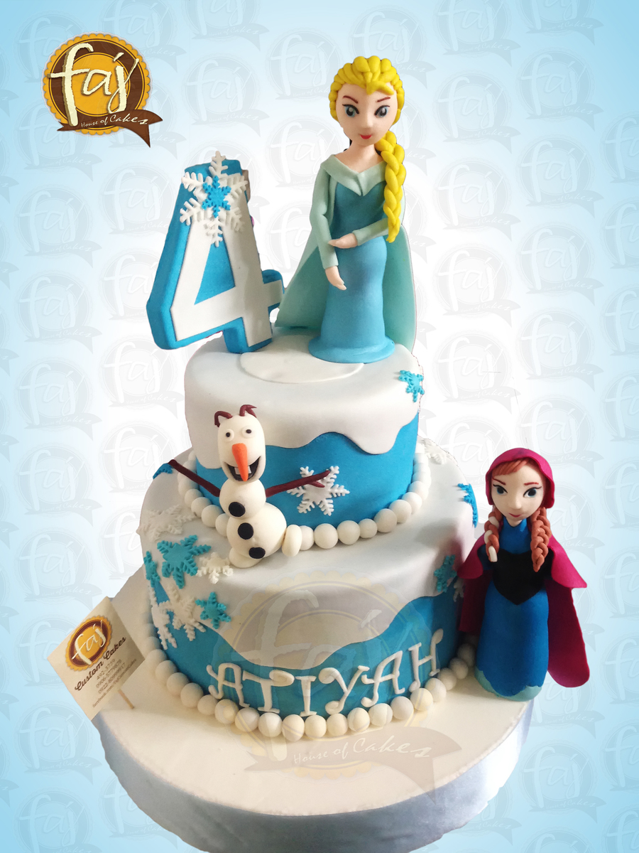 Our Disney Frozen Inspired Cake With Elsa Anna Amp Olaf Fondant Figures Themecakes Frozencake Frozen Prettycakes Celebrationcakes on Cake Central