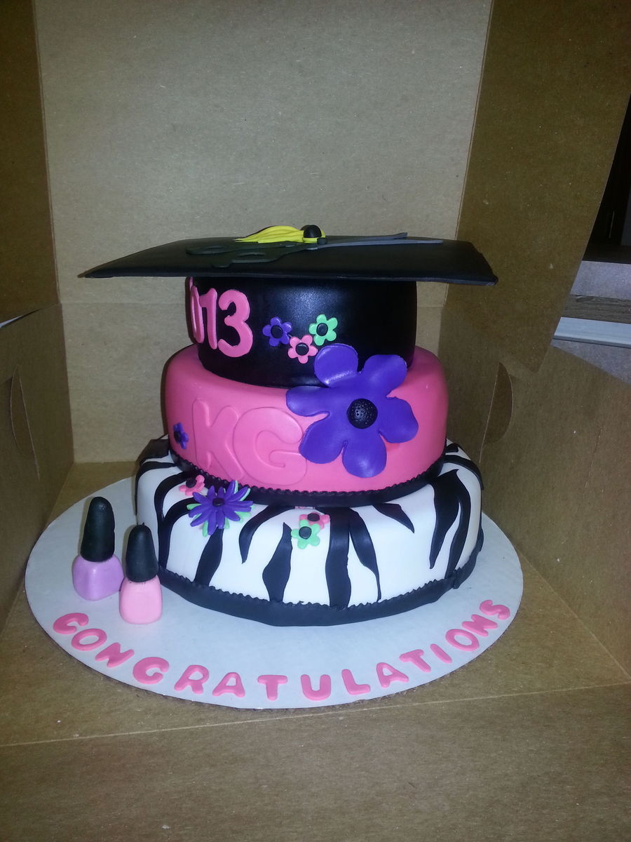 Cosmetology Graduation Cake With Shears On Top Of The Hat on Cake Central