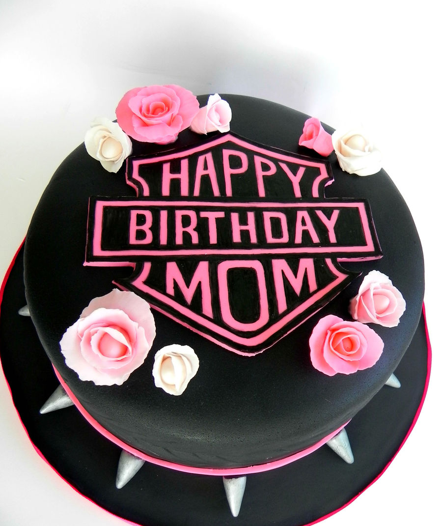 Harley Davidson Cake Decorations Harley Davidson Pink With Roses And Spikes Cakecentralcom