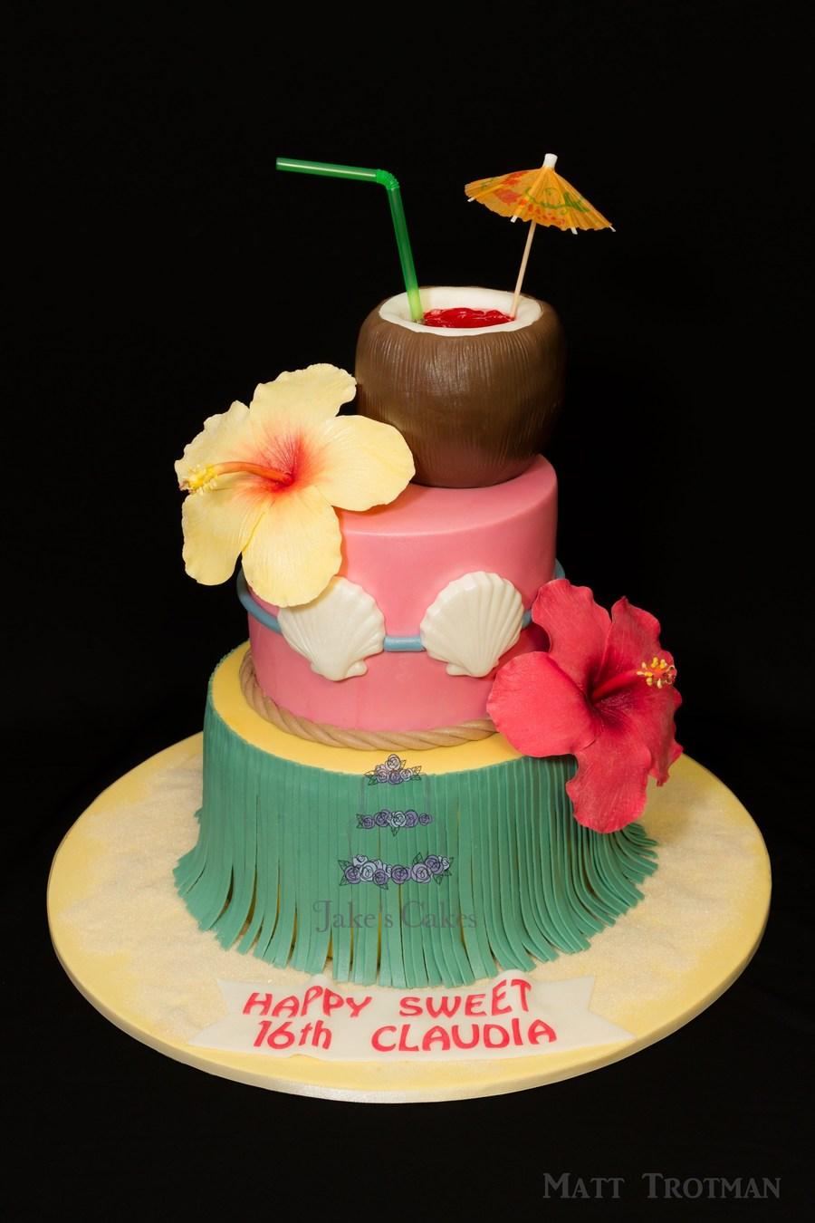 Hawaiian Cake Complete With Handmade Sugar Hibiscus And