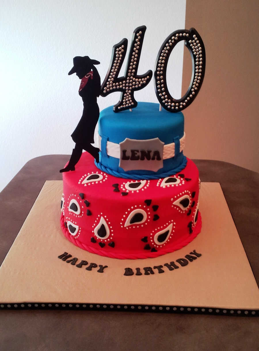 My First Two Tiered Cake The Request Was For A Western Themed 40th