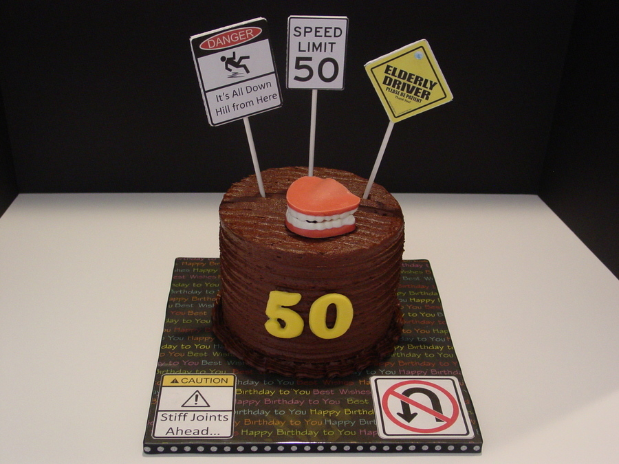 6 X 5 Tall Fun Cake For A Friends Uncle Who Was Turning 50