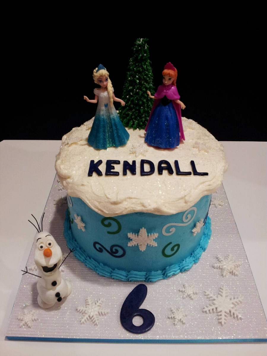 Frozen Disney Theme Birthday Cake Olaf Is Modeling Chocolate Sisters Are Toys Tree Is Ice Cream Cone And Buttercream Icing Purple Le on Cake Central