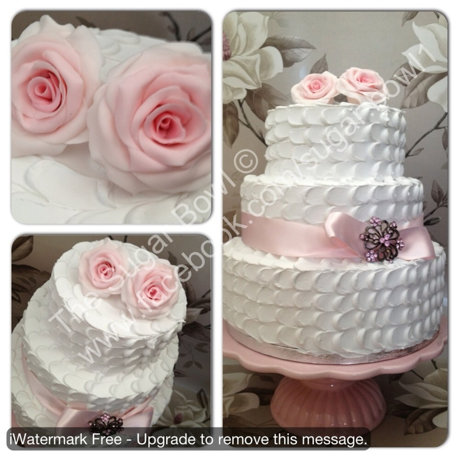 3 Tier Wedding Cake With Buttercream Swirls And Handmade Fondant Roses on Cake Central