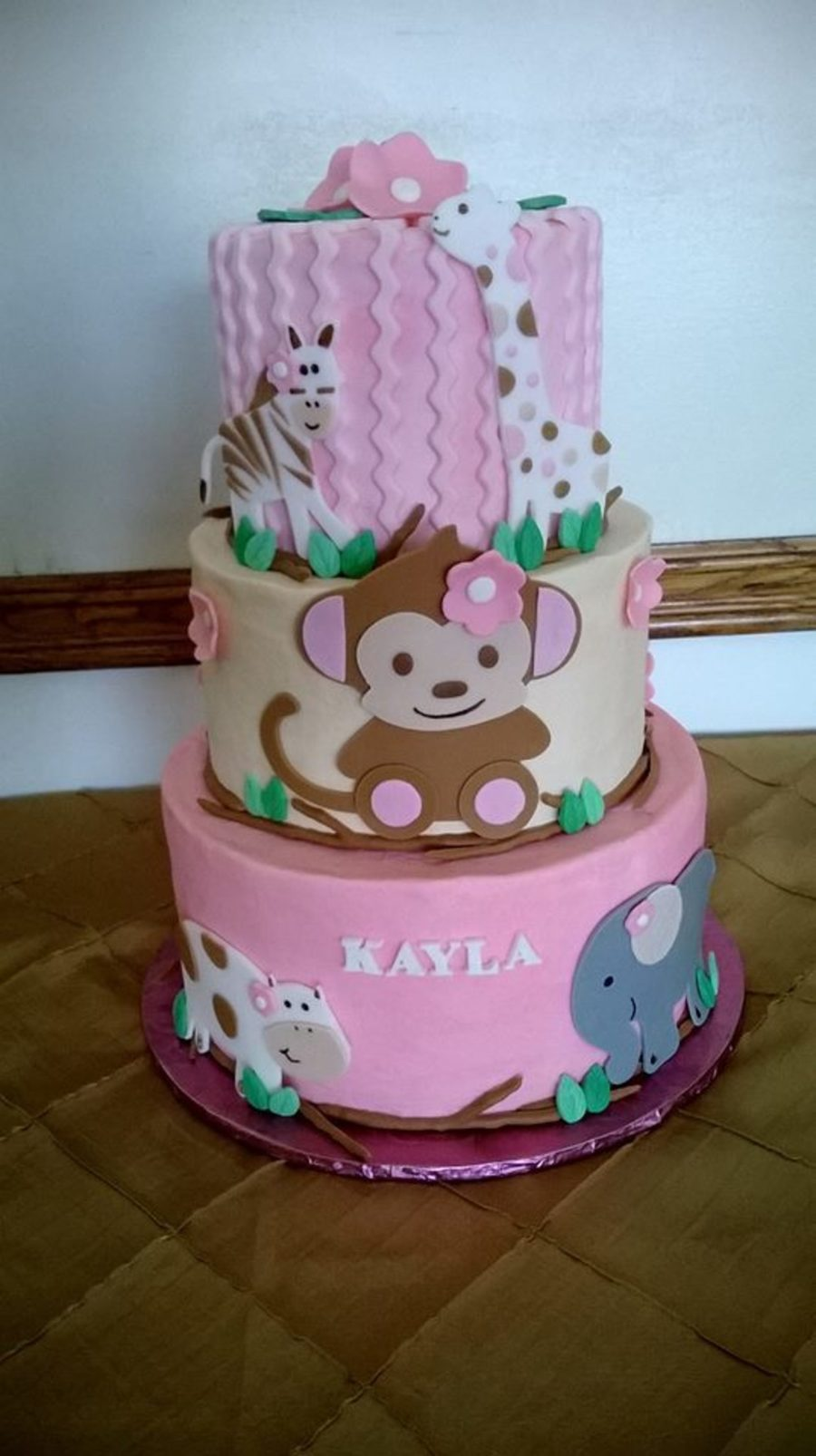 Pink Monkey Jungle Baby Shower Cake Cakecentralcom
