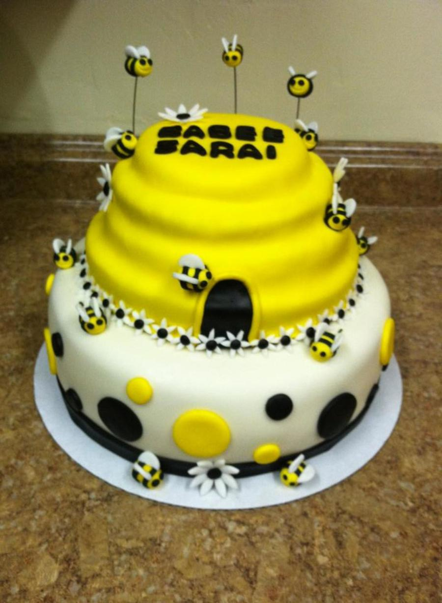 Yellow Black White Bumble Bee Baby Shower Cake