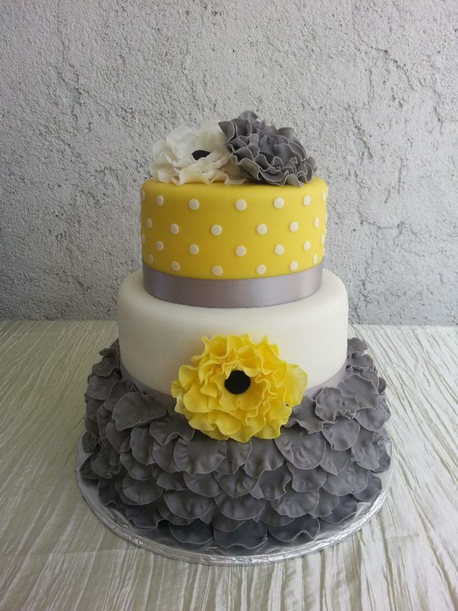 Gray Yellow White Simple But Yet Elegant Wedding Cake - CakeCentral.com