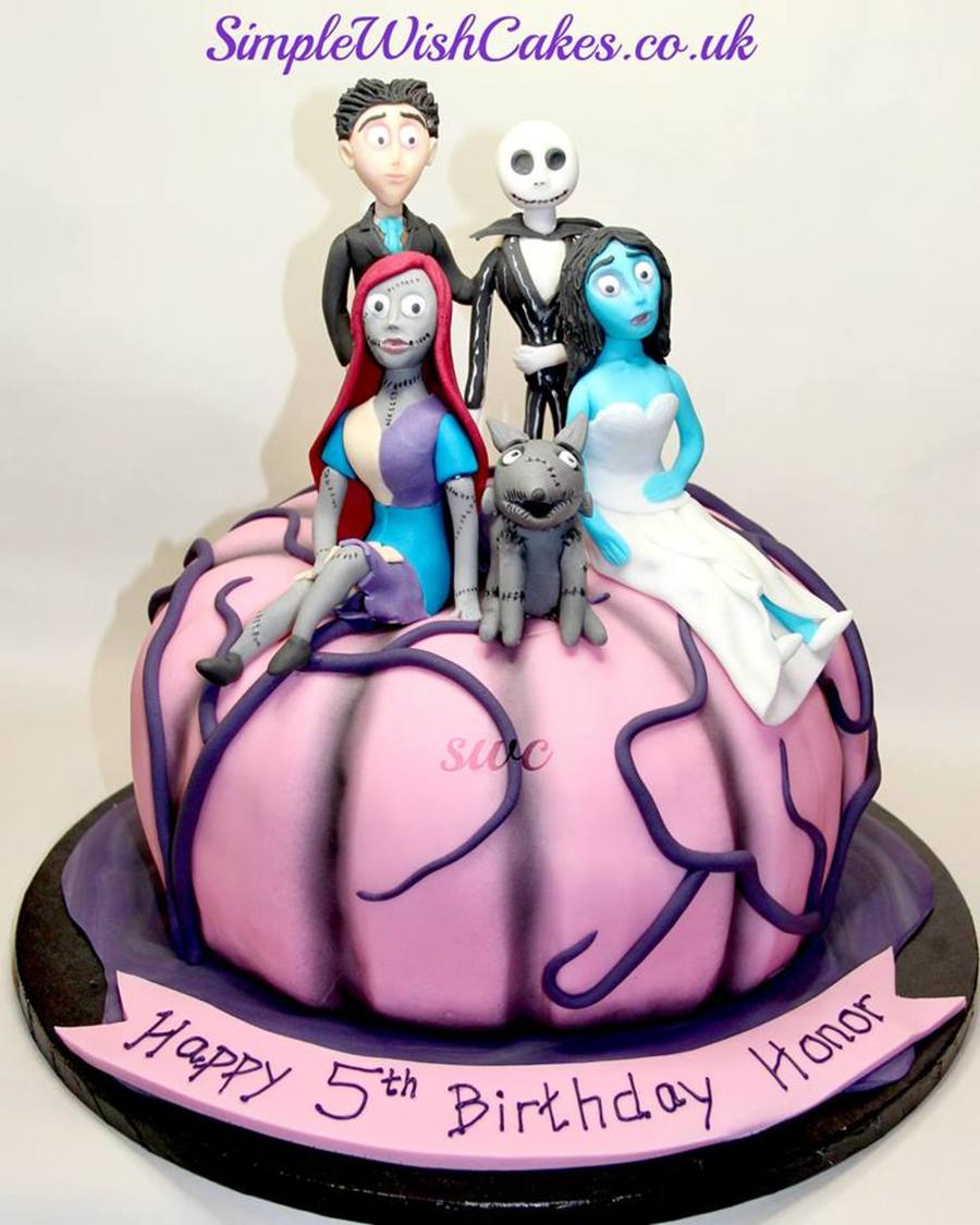 Pink Pumpkin Shaped Cake Along With Figures From Corpse Bride The ...