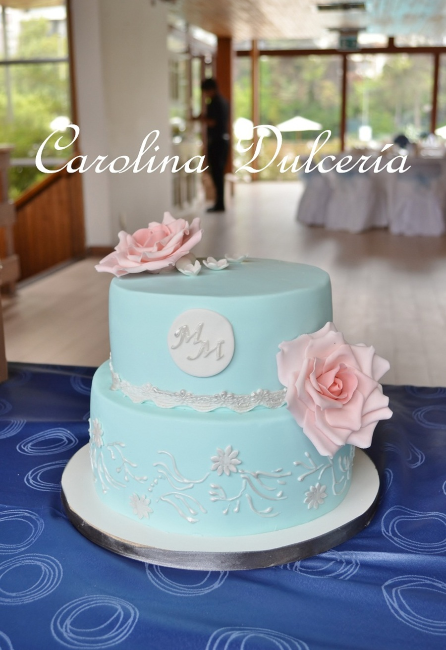 Pink Roses And Pale Silver Lace on Cake Central