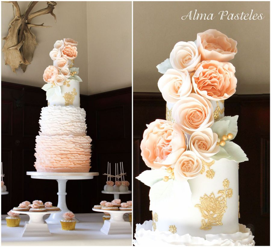 peach wedding cake gallery amp ruffles wedding cake cakecentral 18146