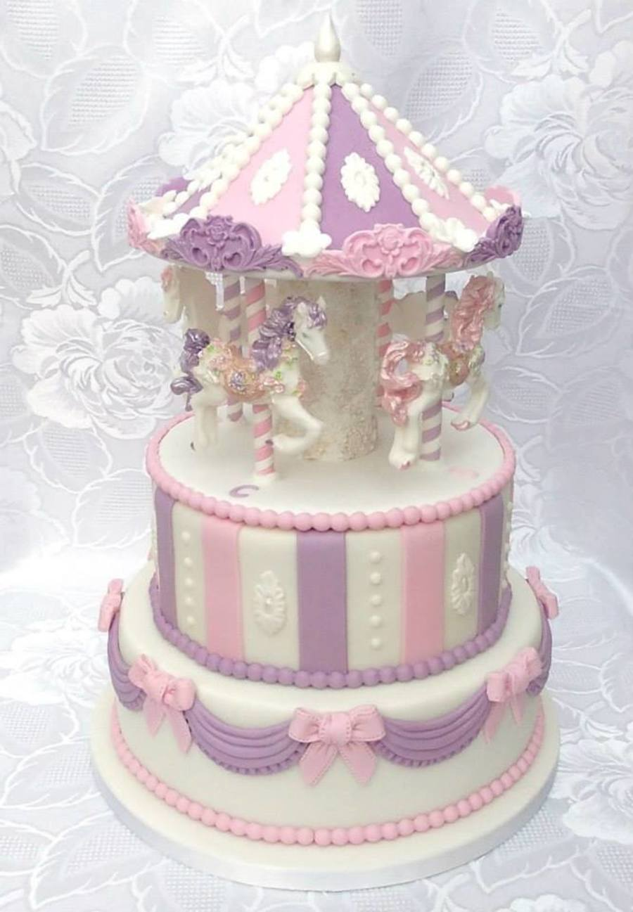 Cake Decorating Carousel : Carousel Christening Cake 2 Tier Cake With Edible ...