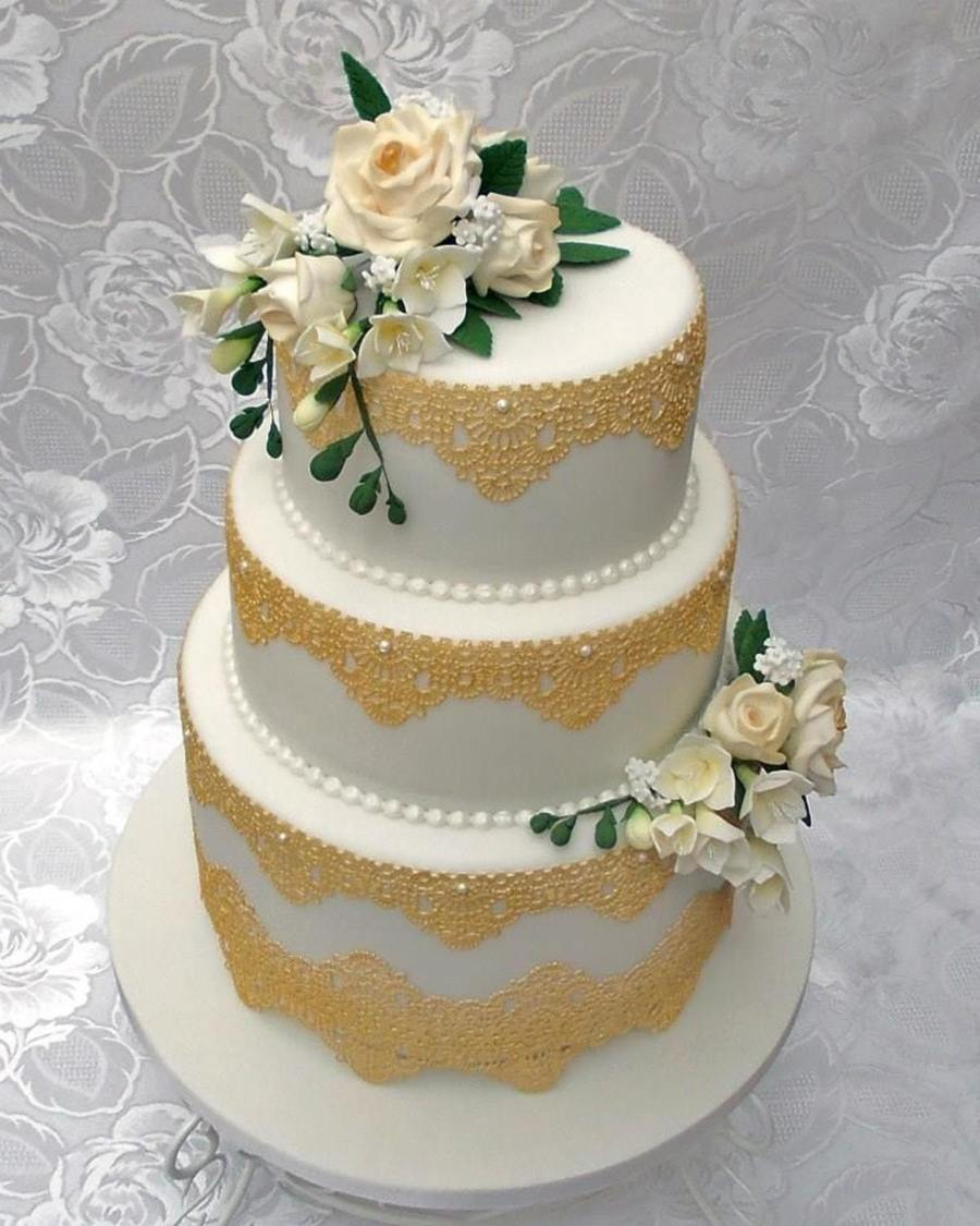 3 Tier Wedding Cake With Gold Edible Lace And Hand Made Sugar