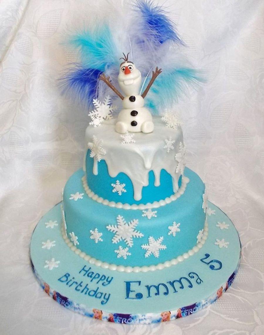Frozen 2 Tier Birthday Cake With Edible Now Man And Royal