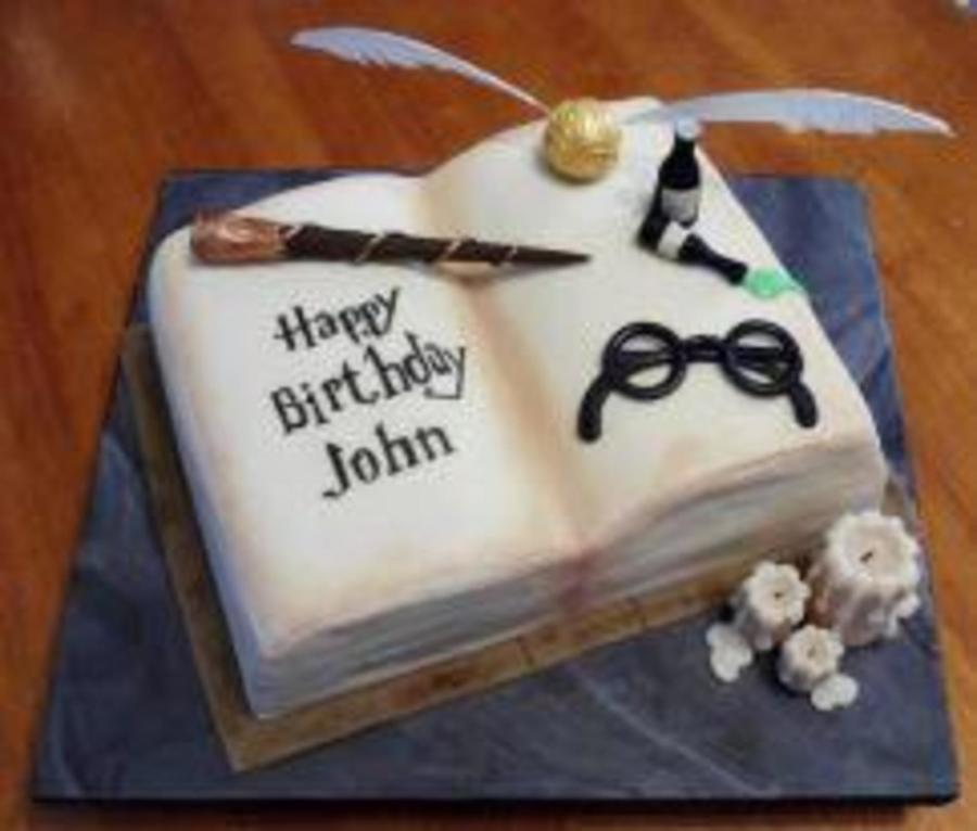 Harry Potter Cake Book Cake With Sugar Paste Orb Gl Bottles And Wand Even The Candles