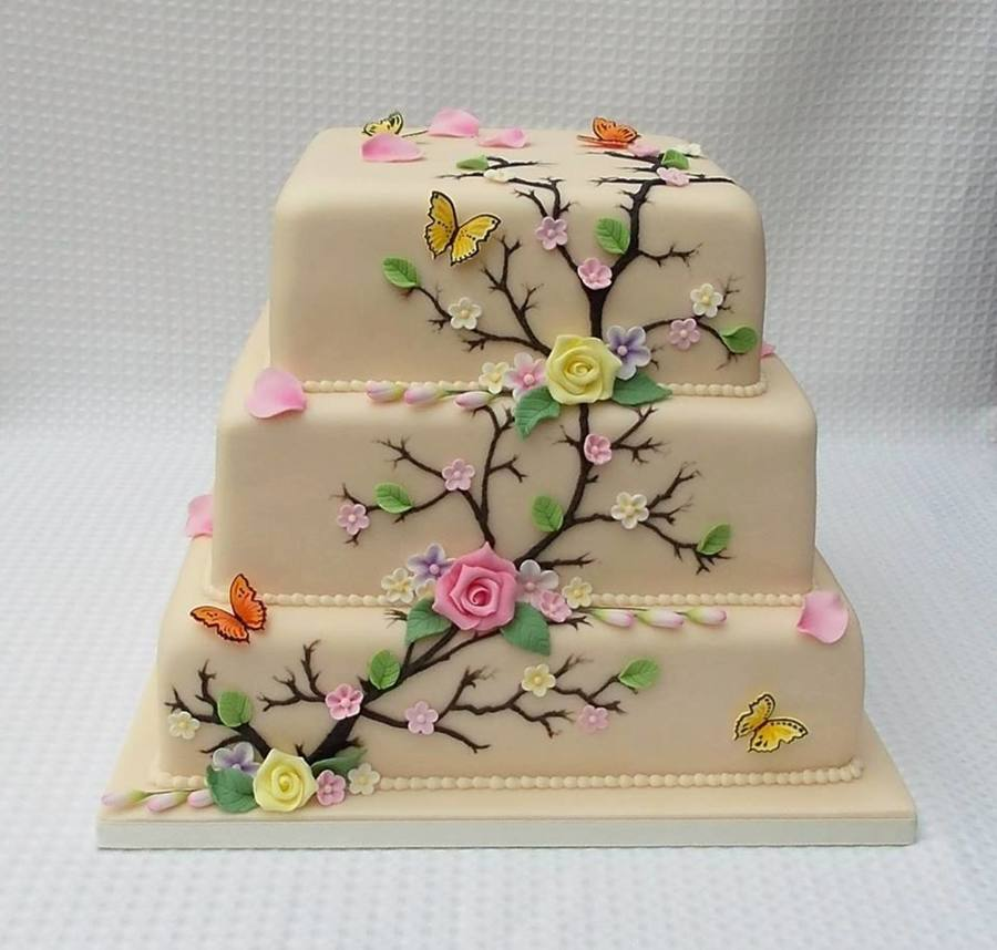 Gumpaste Flowers For Wedding Cakes: 3 Tier Champagne Wedding Cake With Sugar Paste Flowers And