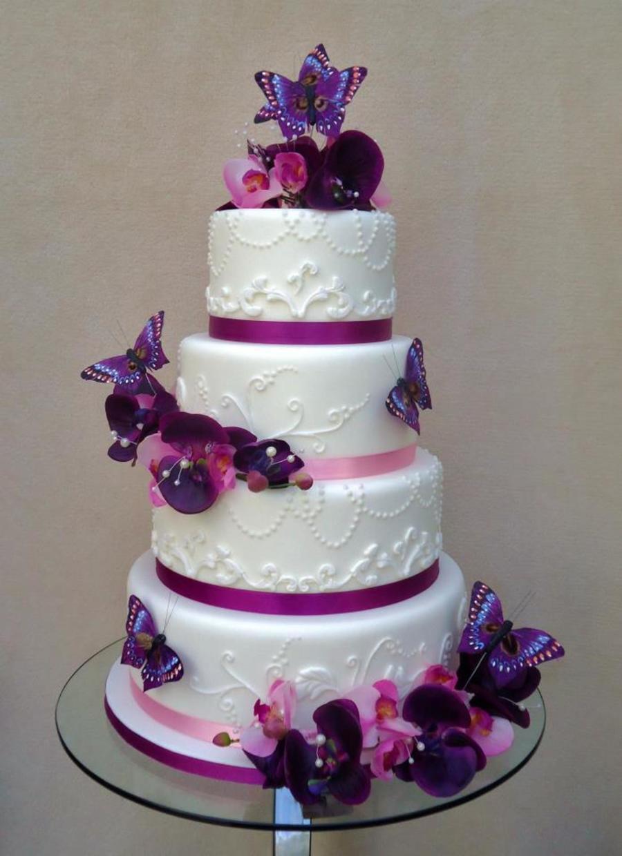 Purple Theme Wedding Cake By Veritys Creative Cakes