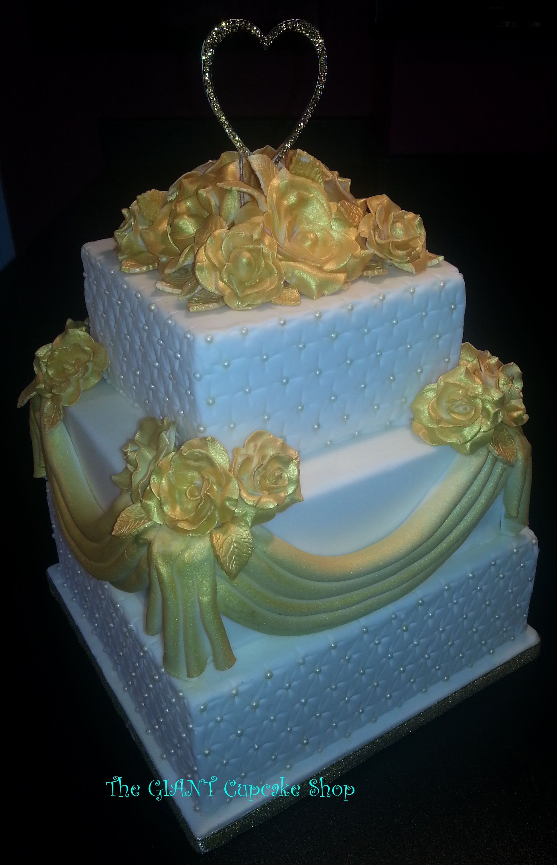 Simple And Elegant 3 Tier Wedding Cake Dramatic Metallic Gold Roses